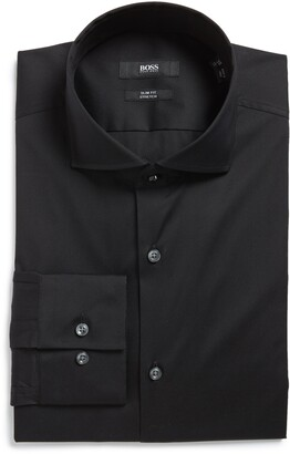 HUGO BOSS Jason Slim Fit Solid Cotton Blend Dress Shirt