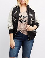 Charlotte Russe Plus Size Embroidered Bomber Jacket