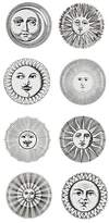 Fornasetti Set Of 8 Soli E Lune Porcelain Coasters