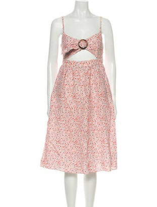 Fame & Partners Floral Print Midi Length Dress Pink