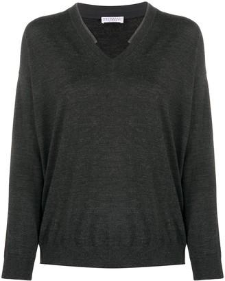 Brunello Cucinelli V-neck beaded trim weater