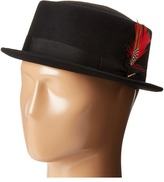Scala Narrow Brim Pork Pie Hat with Ribbon Trim