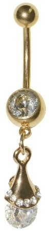 Women's Supreme JewelryTM Curved Barbell Belly Ring with Stones - Gold/Clear