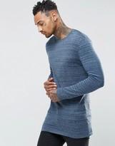 Asos Longline Crew Neck Sweater in Cotton