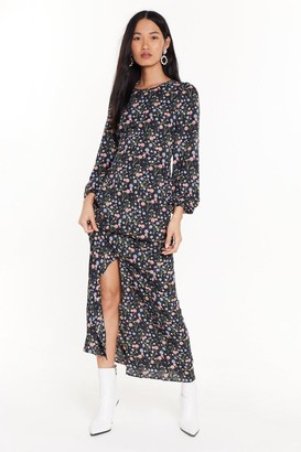 Nasty Gal Womens Stole the Grow Floral Midi Dress - Black - 4