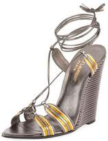 Saint Laurent Talitha Metallic Wedge Sandal