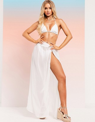 ASOS DESIGN SWIM GLAM twist front recycled maxi beach skirt in white