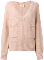 Chloé knitted V-neck pocket sweater - women - Acetate/Wool/Alpaca - M