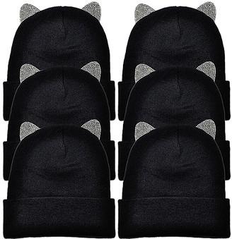 Angelina Women's Beanies Black - Black Knit Embellished Cat-Ear Beanie Set - Women
