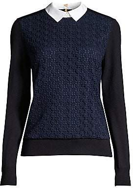 Tory Burch Women's Collar-Insert Lace-Front Wool Sweater
