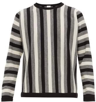 Paul Smith Crew Neck Striped Virgin Wool Sweater - Mens - Black White