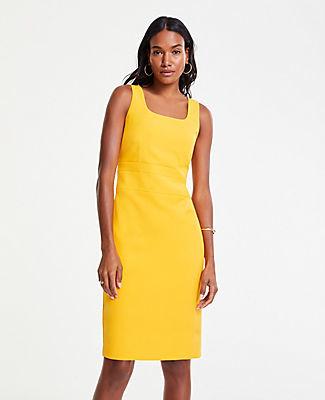 Ann Taylor Petite Doubleweave Square Neck Sheath Dress