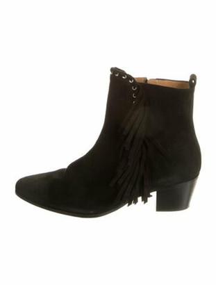 IRO Suede Fringe Trim Accent Boots Black