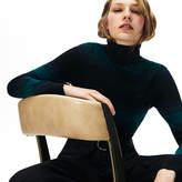 Lacoste Women's Striped Wool Jersey Turtleneck Sweater