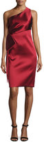 Sachin + Babi One-Shoulder Stretch Satin Sheath Dress, Garnet