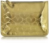 Mary Katrantzou Laminated Gold Leather Pouch w/Stars