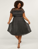 Lane Bryant Patterned Lace Fit & Flare Dress