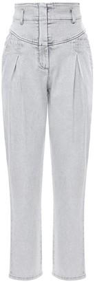 Alberta Ferretti High Waist Stretch Cotton Denim Jeans