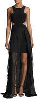 Jovani Sleeveless Cutout High-Low Hem Gown, Black