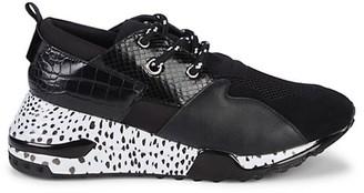 Steve Madden Cliff Snake-Print Embossed Sneakers