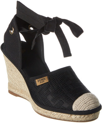 Fendi Ff Motif Canvas Ankle Wrap Sandal