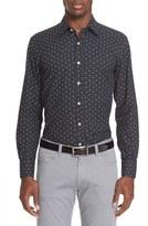 Canali Men's Trim Fit Floral Print Sport Shirt