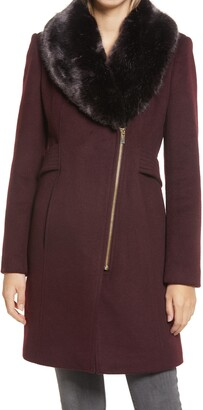 Via Spiga Asymmetrical Wool Coat with Faux Fur Collar