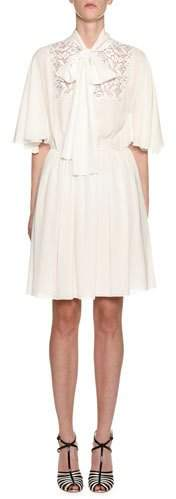 Giambattista Valli 1/2-Flutter Sleeve Tie-Neck Dress