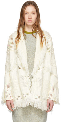 Alanui Off-White Virgin Wool Icon Net Stitched Cardigan