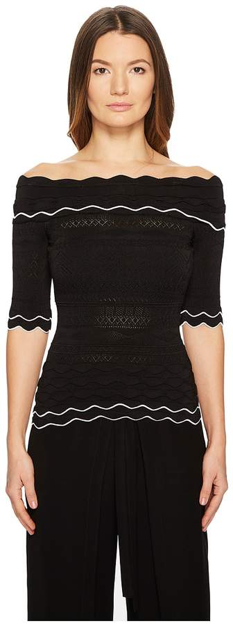 Yigal Azrouel Off Shoulder Scalloped Trim Knit Top