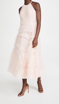 Marchesa Textured Tulle Halter Tea Length Dress