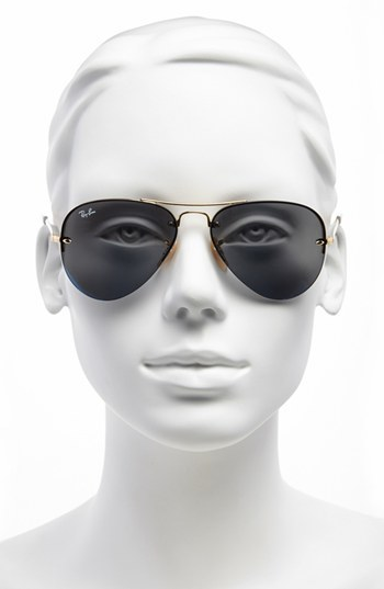 Ray-Ban 56mm Semi Rimless Lightweight Aviator Sunglasses