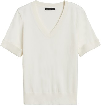 Banana Republic Petite Stretch-Cotton Short-Sleeve Sweater
