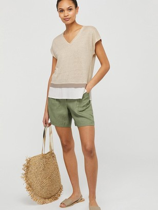 Monsoon Wallace Linen T-Shirt - Stone