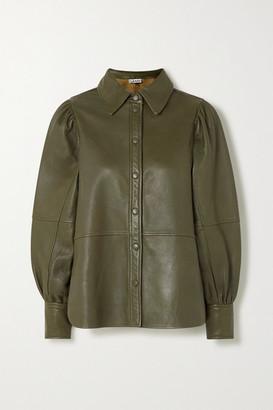 Ganni Leather Shirt - Army green