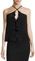 Alexis Tulla Sleeveless Silk Tie-Neck Top, Black