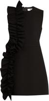 MSGM Ruffled round-neck crepe dress