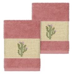 Linum Home Mila 2-Pc. Embroidered Turkish Cotton Washcloth Set Bedding