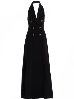 Balmain Double-Breasted Halter-Neck Gown