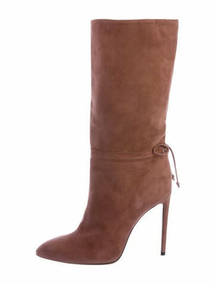 Alaia Suede Bow Accents Boots Pink
