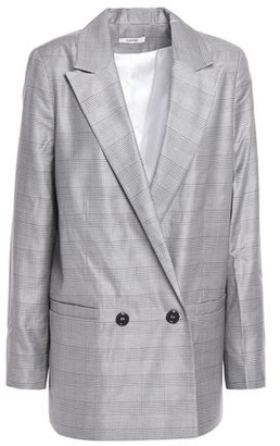 Ganni Double-breasted Checked Silk And Wool-blend Blazer