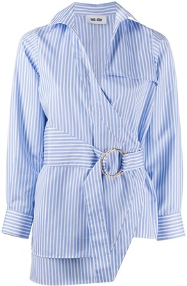 Each X Other Striped Print Belted Shirt