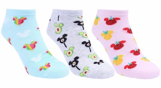 :  Disney  :  Mickey Mouse  : 3 x Pink/Grey Socks Shoe Liners For Ladies MICKEY MOUSE DISNEY