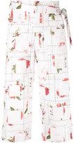Chalayan rose print wrap trousers
