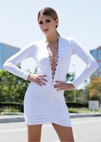 Savee Couture DR5518SQL Hey Babe In White/White Sequin