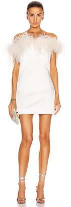 Saint Laurent Feathers Mini Dress in White | FWRD
