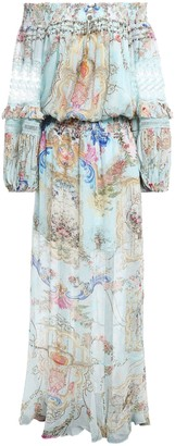 Camilla Versailles Sky Off-the-shoulder Silk-georgette Maxi Dress