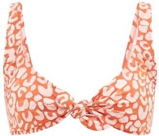 Fisch Lurin Tie-front Leopard-print Bikini Top - Womens - Leopard