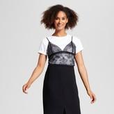 Who What Wear Women's Lace Mix T-Shirt White/Black