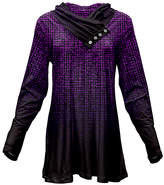 Azalea Purple & Black Abstract Texture Button Cowl Neck Tunic - Plus Too